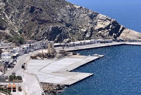Repair works of Athinios port in Thira island